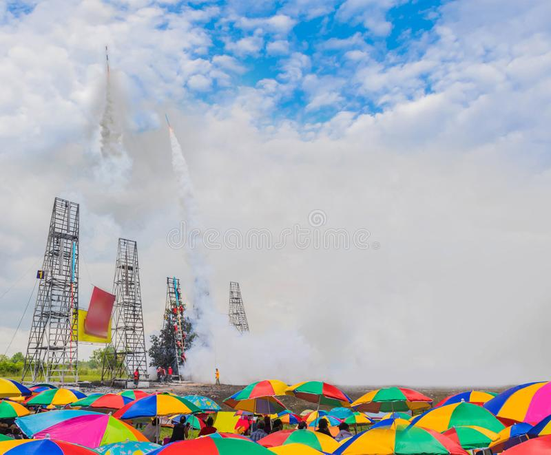 Abstract soft focus the crowds with umbrella were watching Thailand fireball skyrocket taking off to the colorful beautiful sky. And cloud, The community royalty free stock images