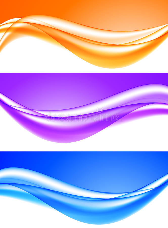 Abstract soft light waves set. In blue purple orange colors and dynamic elegant smooth style. Vector illustration stock illustration