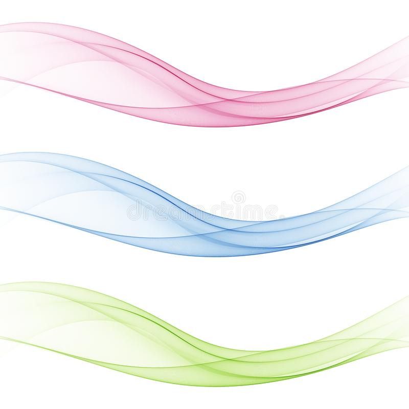 Abstract soft speed futuristic swoosh wave. Three minimalistic divider swoosh lines in gradient green ,pink ,blue color royalty free illustration