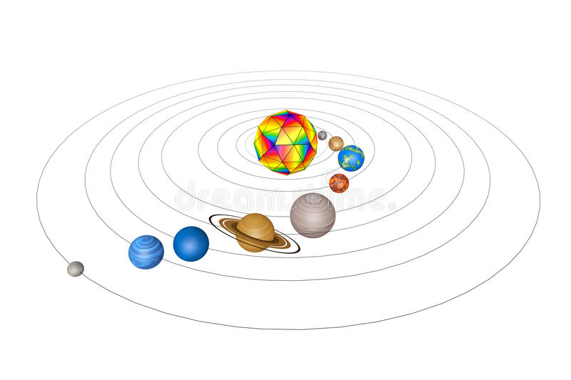 Abstract Solar System with Planets. 3d Rendering stock illustration