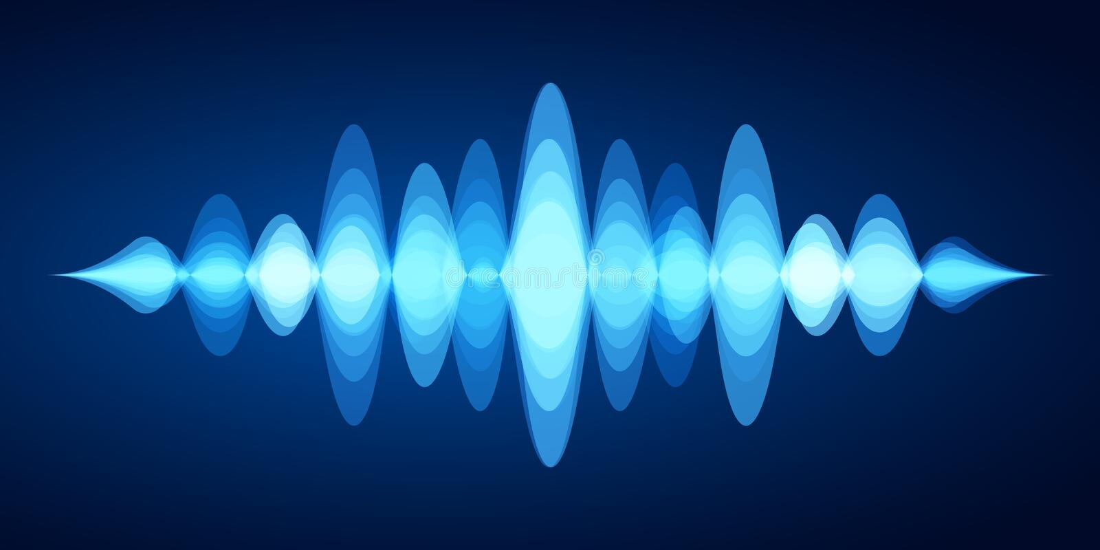 Abstract sound wave. Blue voice sounds waveform spectrum, music energy vibrations equalizer and stereo analyzer vector vector illustration