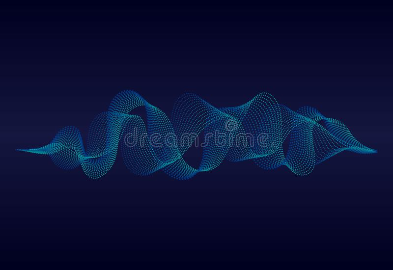 Abstract sound wave of music with wavy particles.Digital soundwave on blue background. music equalizer concept. vector stock illustration