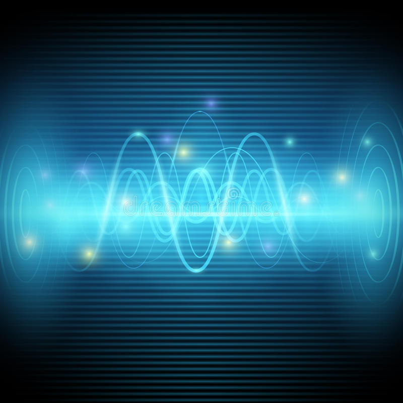 Abstract sound waves, Blue light music Equalizer vector design royalty free illustration