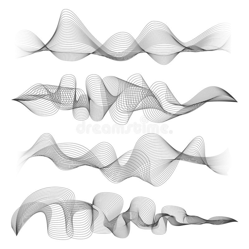 Abstract sound waves isolated on white background. Digital music signal soundwave shapes vector illustration. Music audio record waveform stock illustration