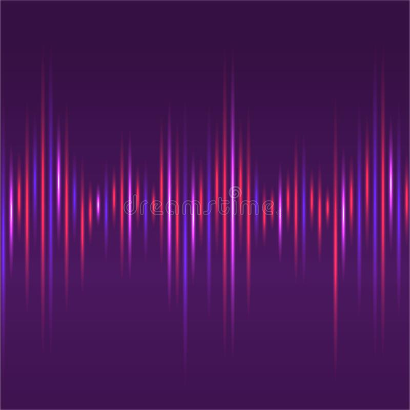 Abstract sound waves light equaliser purple background. stock illustration