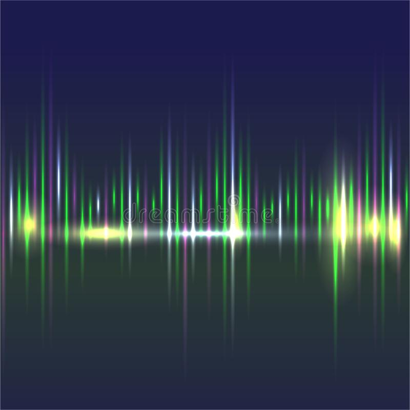 Abstract sound waves light equalizer green dark blue royalty free illustration