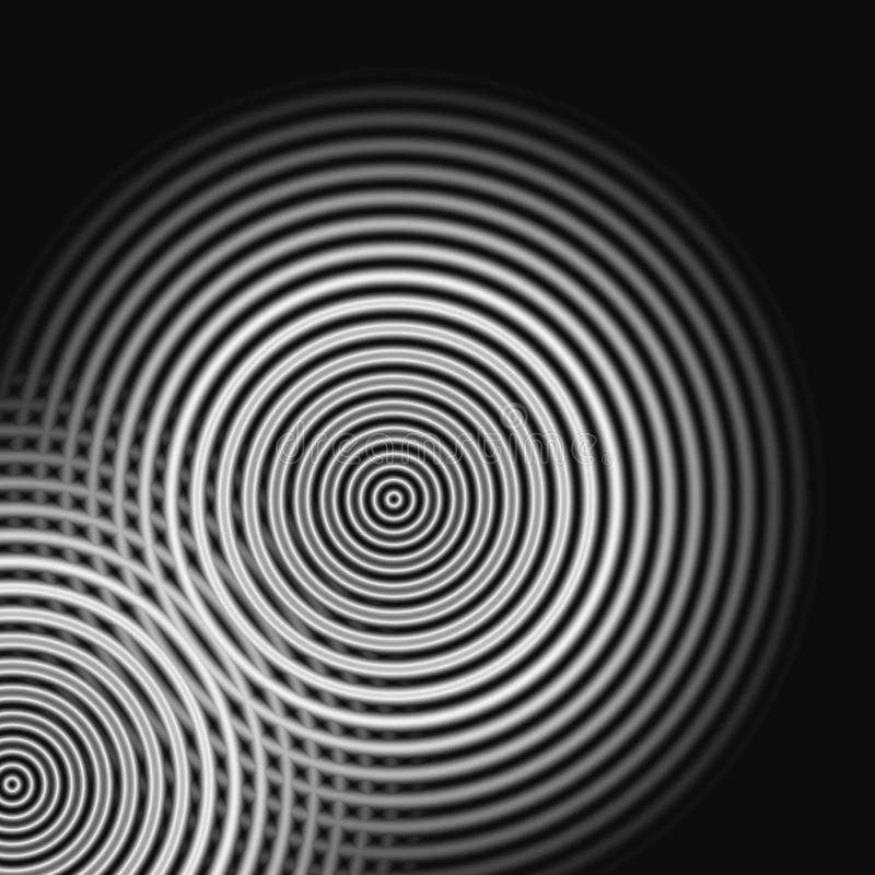 Abstract sound waves oscillating white light on black background.  royalty free illustration