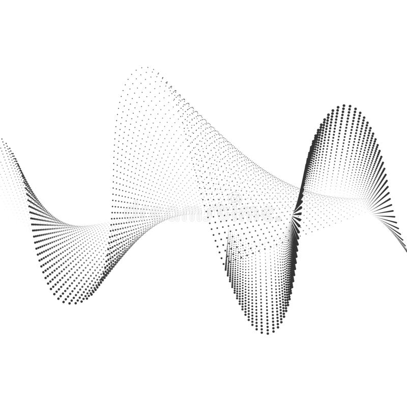 Abstract soundwave smooth curved lines from dots halftone Design element Technological background with a line in the wave form. Abstract smooth curved lines from vector illustration