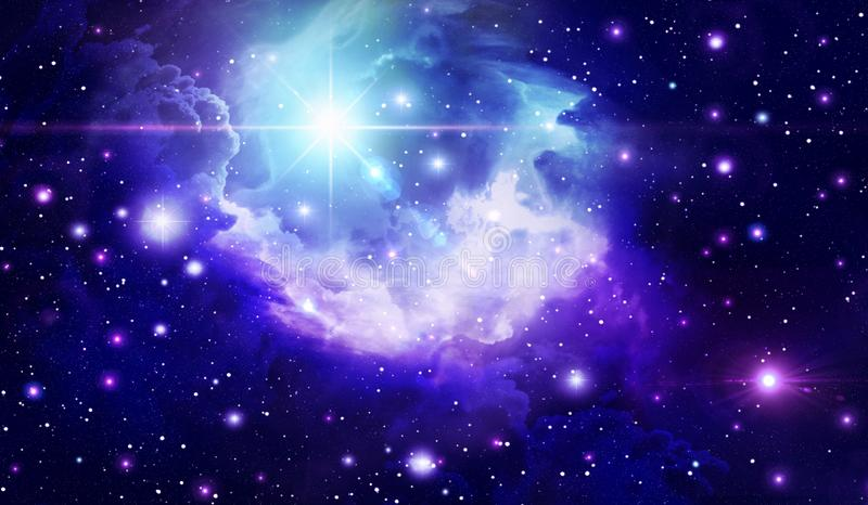 Abstract space background, Astronomy, background, black, blue, bright, clouds, space, galaxy, infinity, light, nebula , night, stock illustration