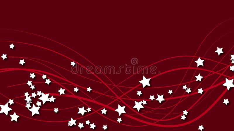 Abstract space background with red lines and three-dimensional white stars with a shadow. White stars on a red bright colored back royalty free illustration