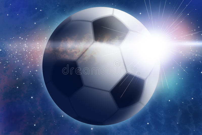 Abstract space landscape with football and sunrise vector illustration
