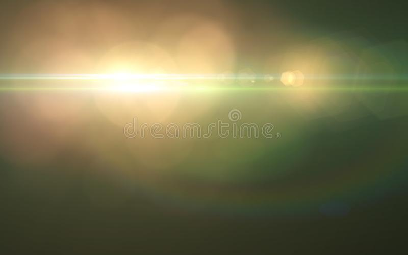 Abstract spacescape, speed of light and lens flare. royalty free illustration