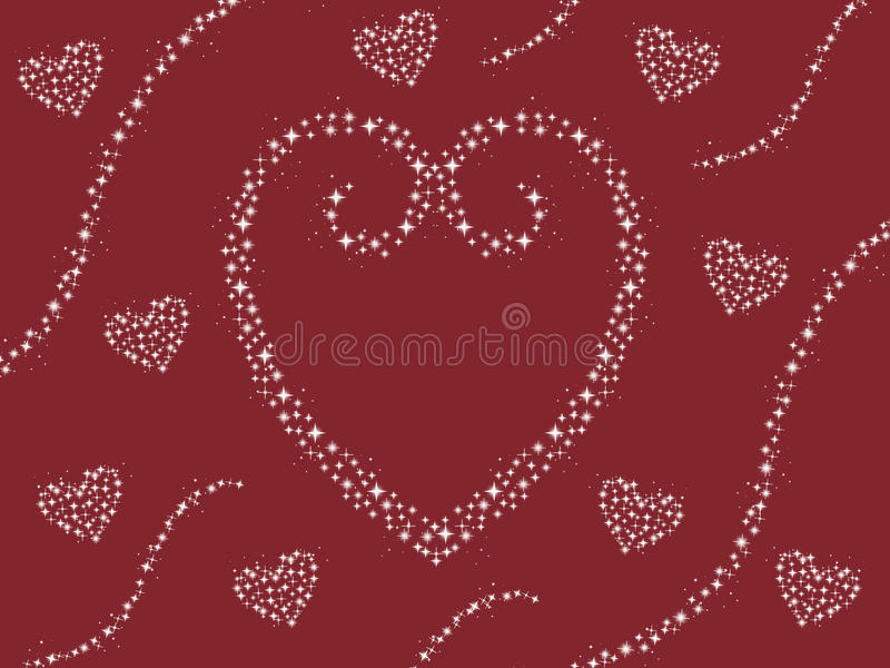 Abstract sparkle heart design with swirls valentines day card maroon background illustration stock illustration