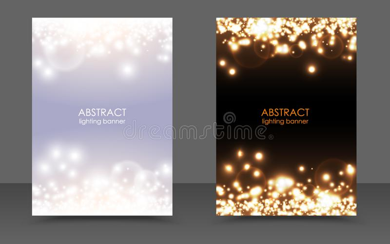 Abstract sparkling Christmas lights magic background set. Vector light and dark glow bright festive poster. White sparks modern vector illustration