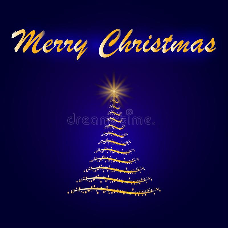 Abstract sparkling Christmas tree with glowing and light. Electric bright banner design on dark backdrop. Neon abstract background vector illustration
