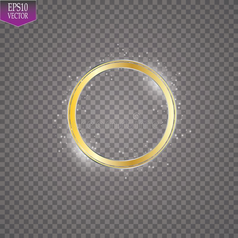 Abstract sparkling golden frame light effect on transparent background. Spark with ring glossy line vector illustration