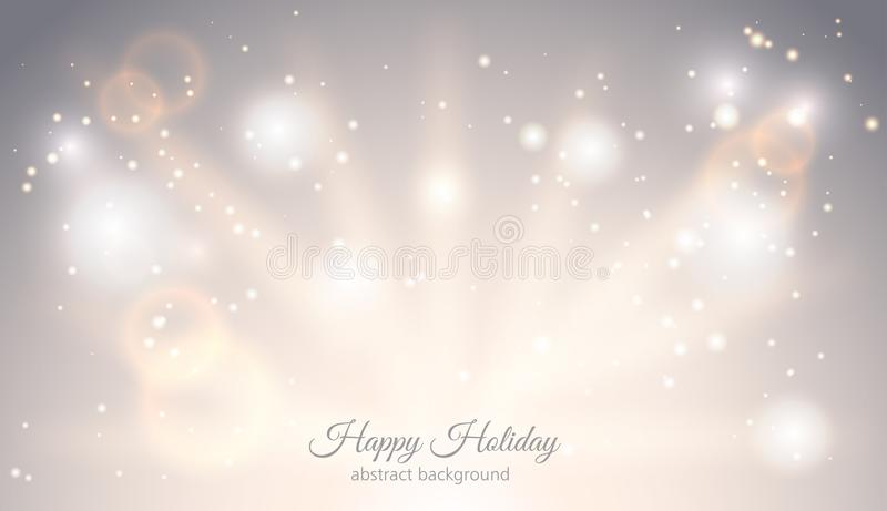 Abstract sparkling light magic horizontal background. Glow bright festive fantasy banner with rays sparks ligh effect stock illustration