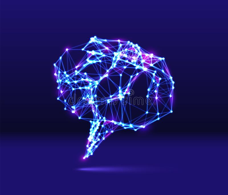 Abstract speech bubble neon icon with shiny 80s synthwave styled lines on blue background stock illustration