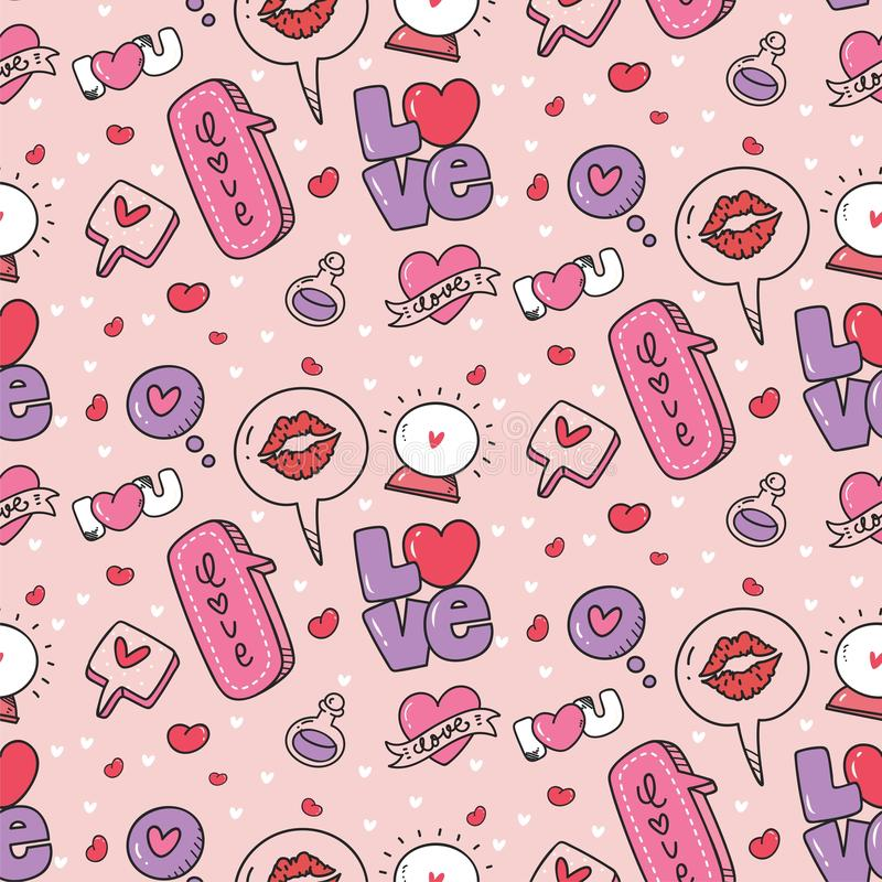Abstract speech bubbles and heart seamless pattern royalty free illustration