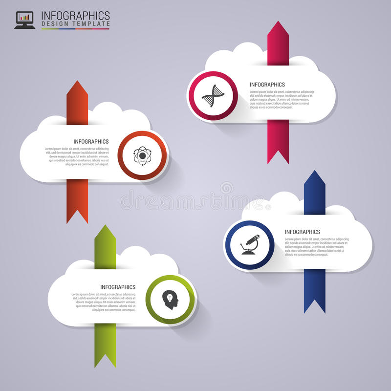 Abstract speech bubbles. Infographics. Clouds shape concept. Modern design template. Vector illustration.  stock illustration