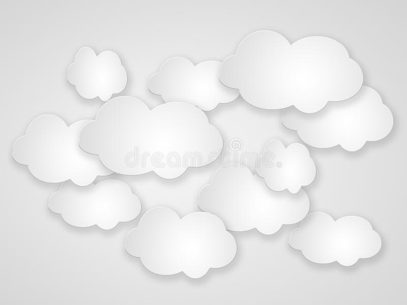 Abstract speech bubbles in the shape of clouds.