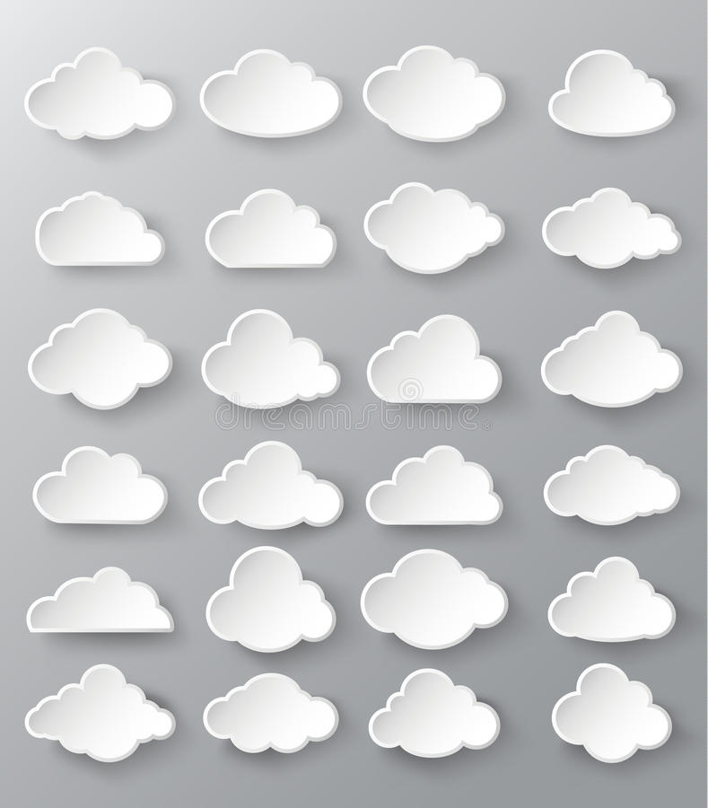 Abstract speech bubbles in the shape of clouds. Paper cut style stock illustration