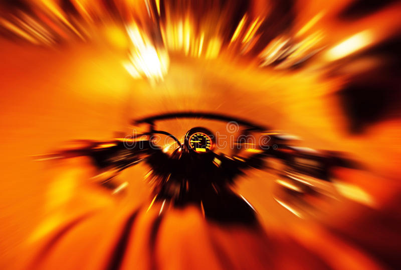 Abstract speed background. Abstract red slow motion speed background, selective focus on speedometer, night motorbike ride stock photos
