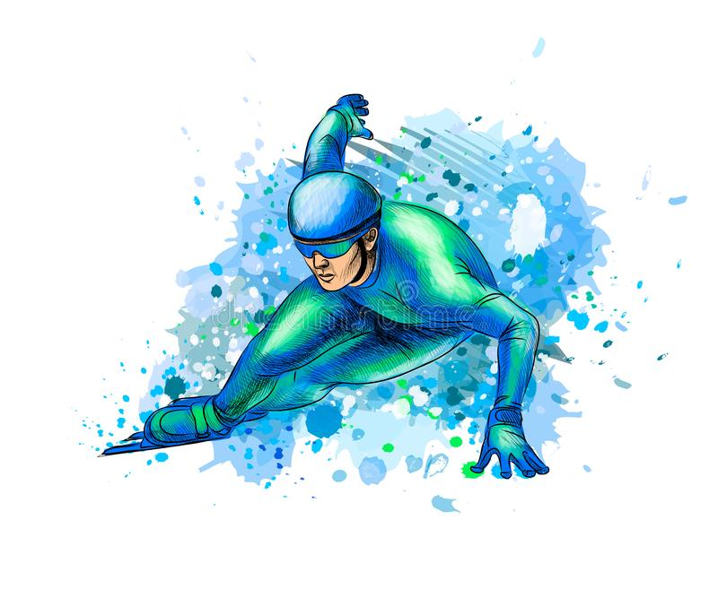 Abstract speed skaters from splash of watercolors. Winter sport Short track. Vector illustration of paints stock illustration