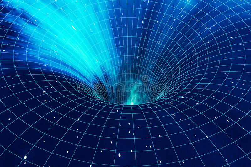 Abstract speed tunnel warp in space, wormhole or black hole, scene of overcoming the temporary space in cosmos. 3d vector illustration