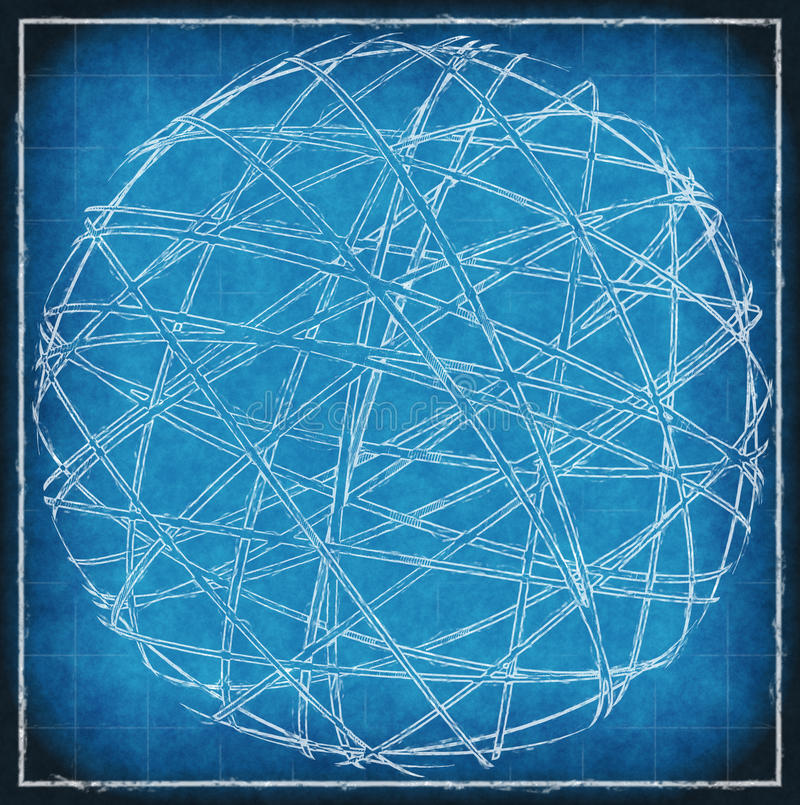 Abstract sphere on blue vintage background vector illustration