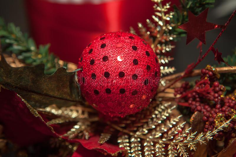 Abstract sphere decoration. Red sphere abstract decoration for New Year stock images