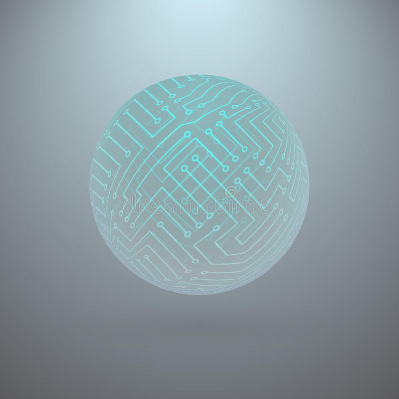 Abstract Sphere of Electronic Circuitry vector illustration