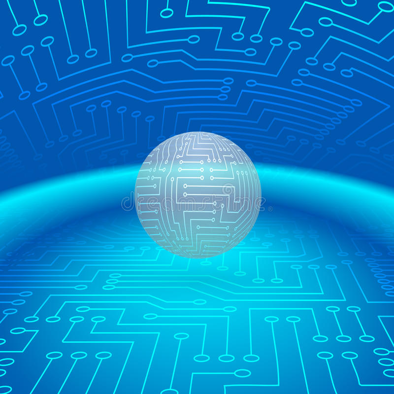 Abstract Sphere of Electronic Circuitry stock illustration