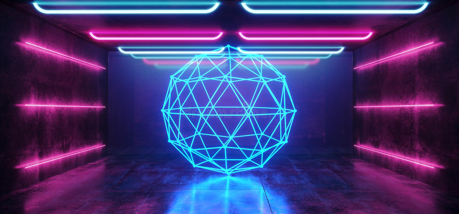 Abstract Sphere Laser Background Neon Retro Futuristic Sci Fi Modern Spaceship Glossy Spectrum Purple Blue Vibrant Pink Rainbow vector illustration