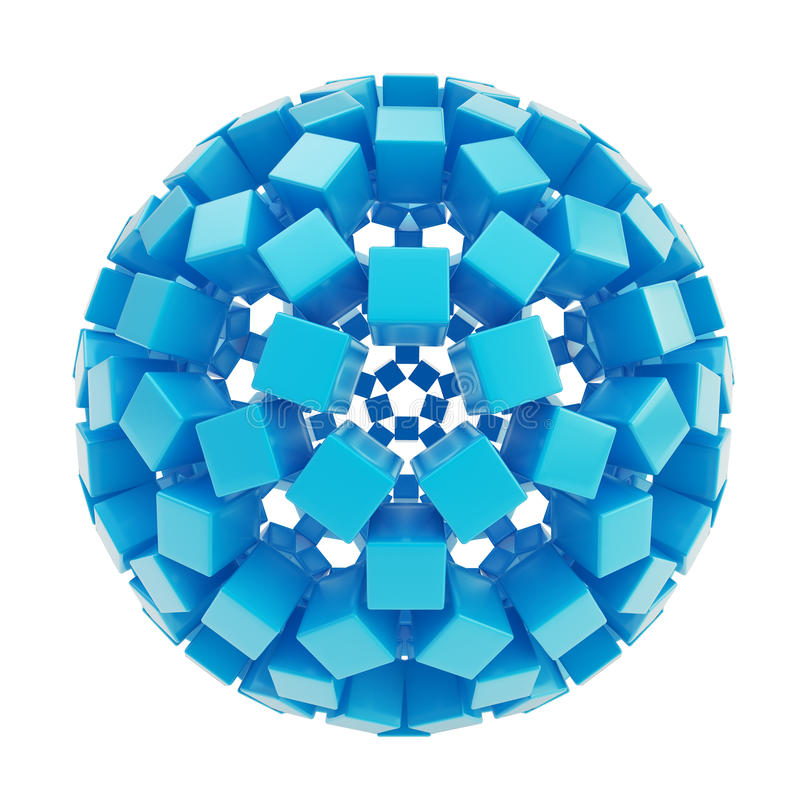 Abstract sphere made of blue glossy cubes vector illustration