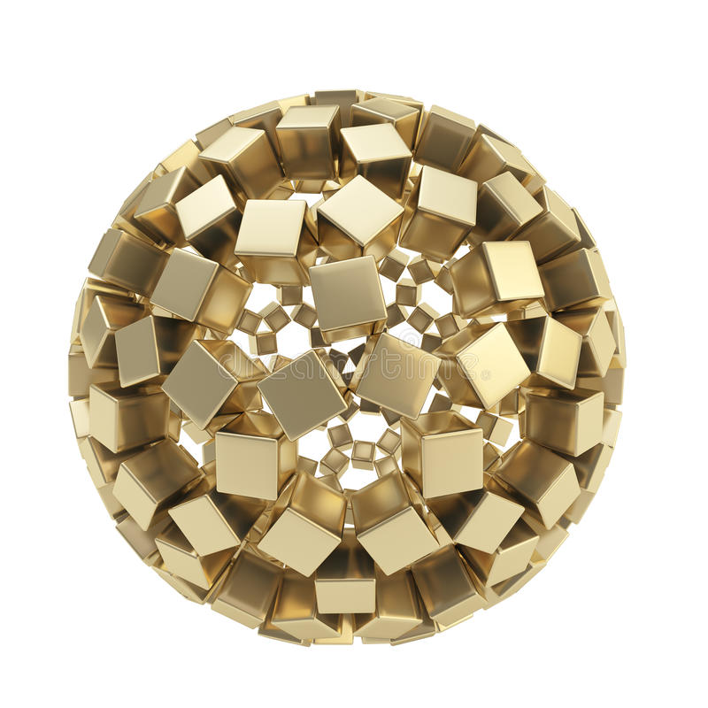 Abstract sphere made of golden cubes isolated vector illustration