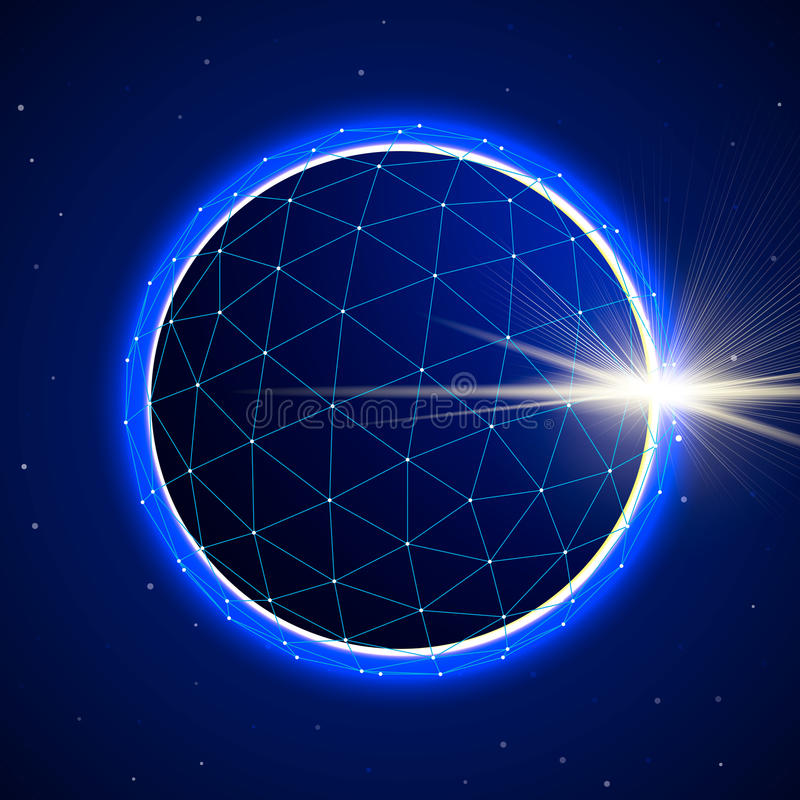 Abstract Sphere in Space with Eclipse stock illustration