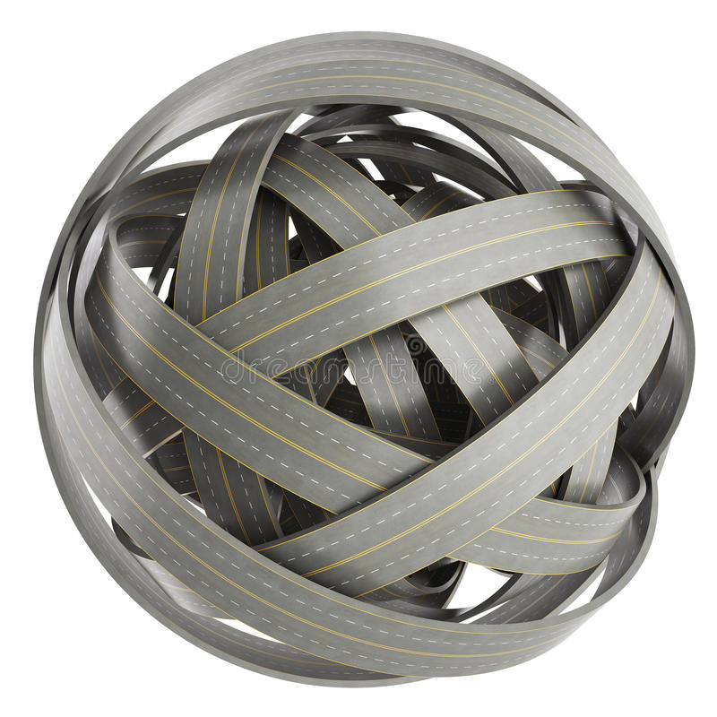 Abstract sphere of tangled roads, on white background. royalty free illustration