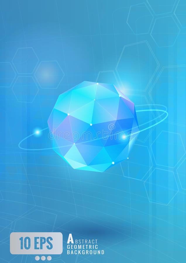 Abstract sphere with technology conceptual on blue BG vector illustration