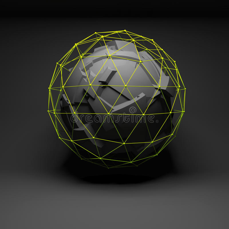 Abstract spherical object, chaotic fragmentation royalty free illustration