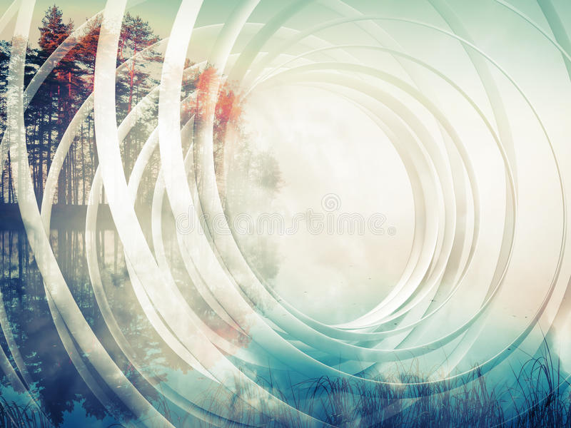 Abstract spiral background with autumnal landscape stock illustration