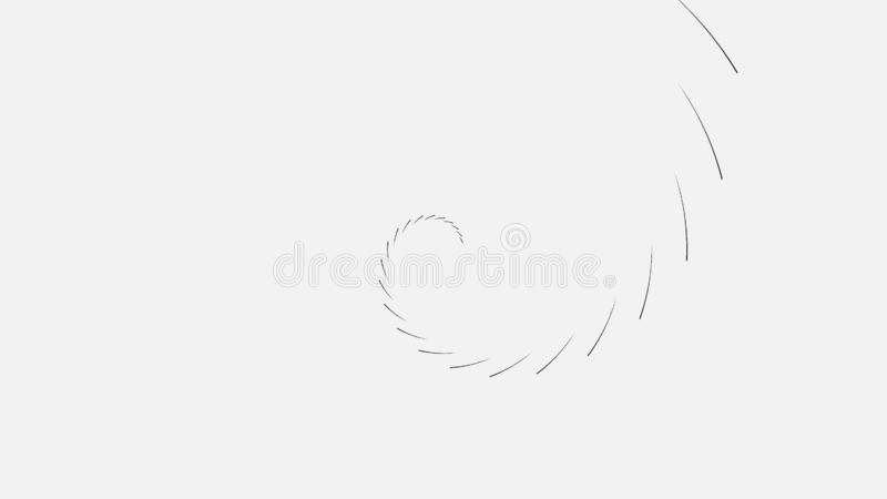 Abstract spiral of black lines on white background. Animation. Swirling spiral circular lines on background loading. Geometric fascinating loading spiral vector illustration