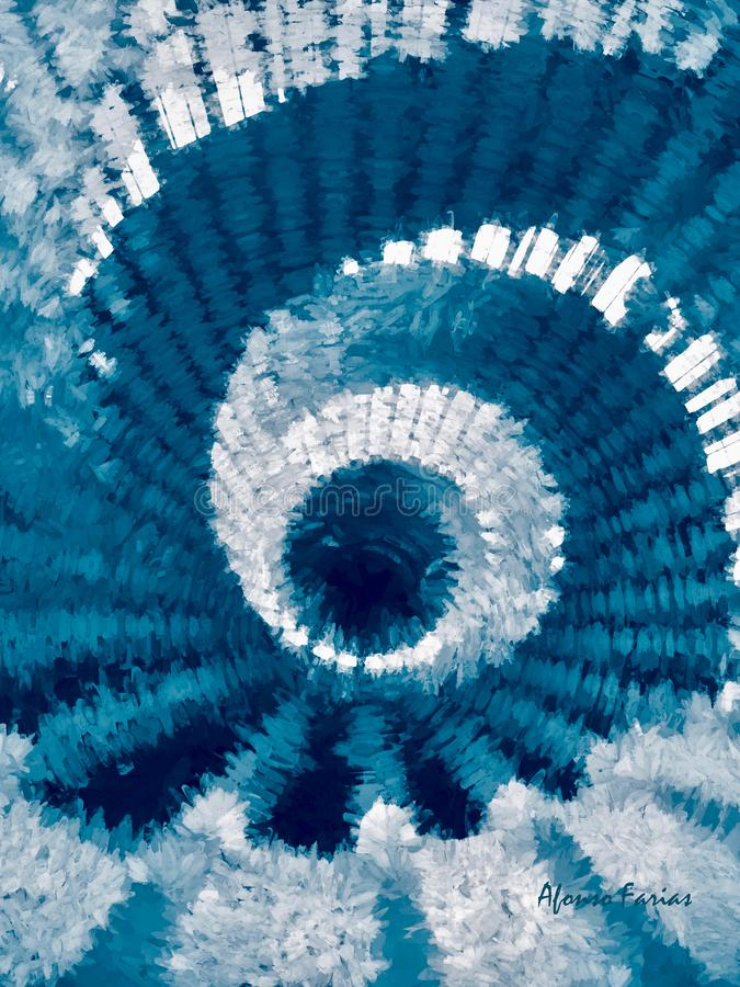 Abstract Spiral In Blue and White. Digital Art by Afonso Farias royalty free illustration