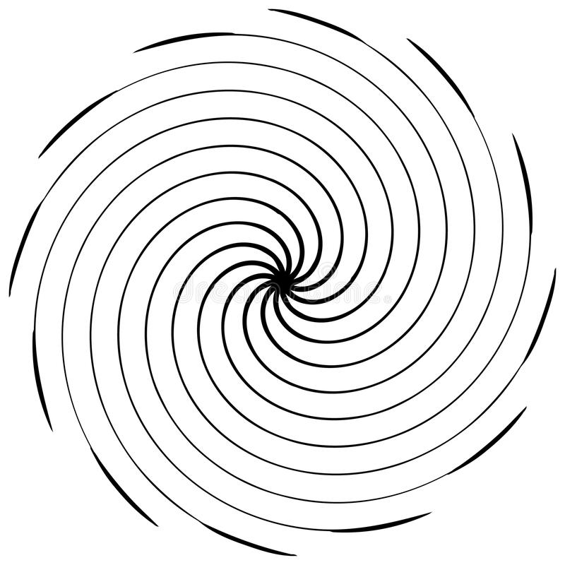 Abstract spiral element. Concentric, radial, radiating lines. Ab. Stract rotating geometric element. - Royalty free vector illustration royalty free illustration