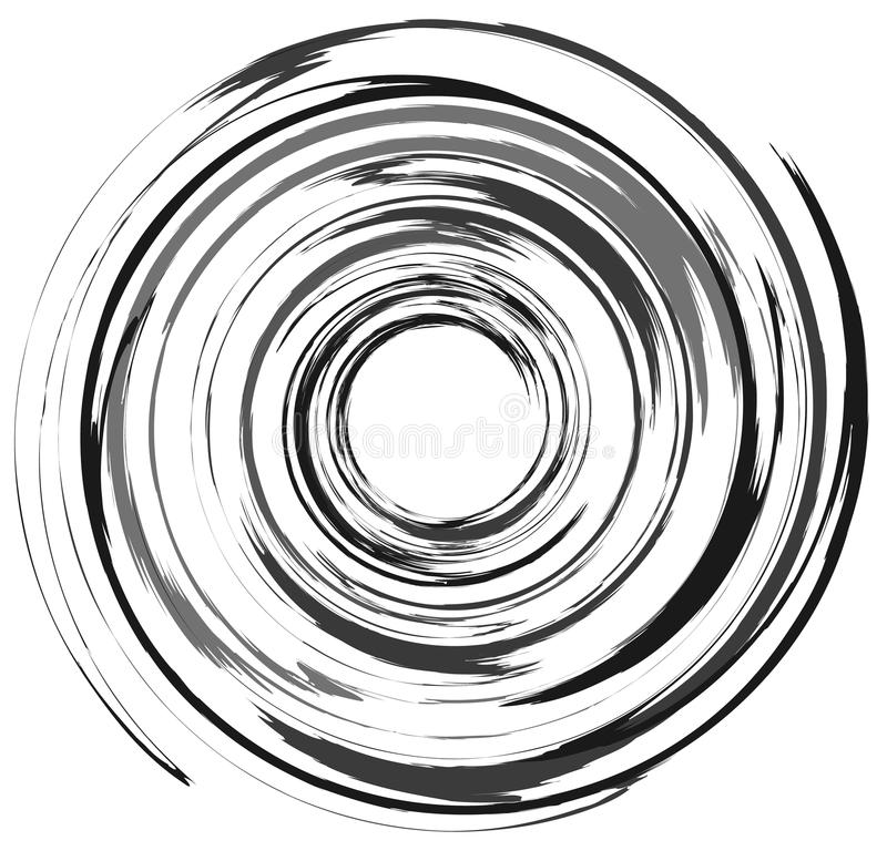 Abstract spiral element in irregular, random fashion. Geometric. Hypnotic vortex royalty free illustration