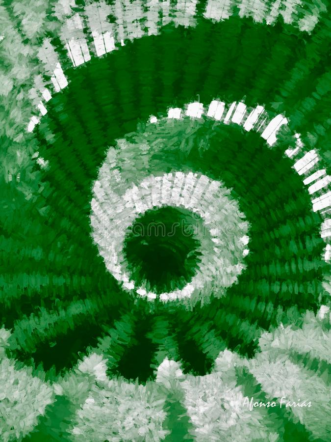 Abstract Spiral In Green and White. Digital Art by Afonso Farias stock illustration