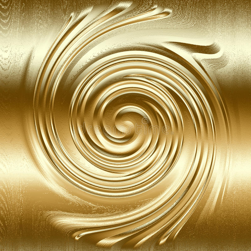 Abstract spiral metal relief, gold color royalty free illustration