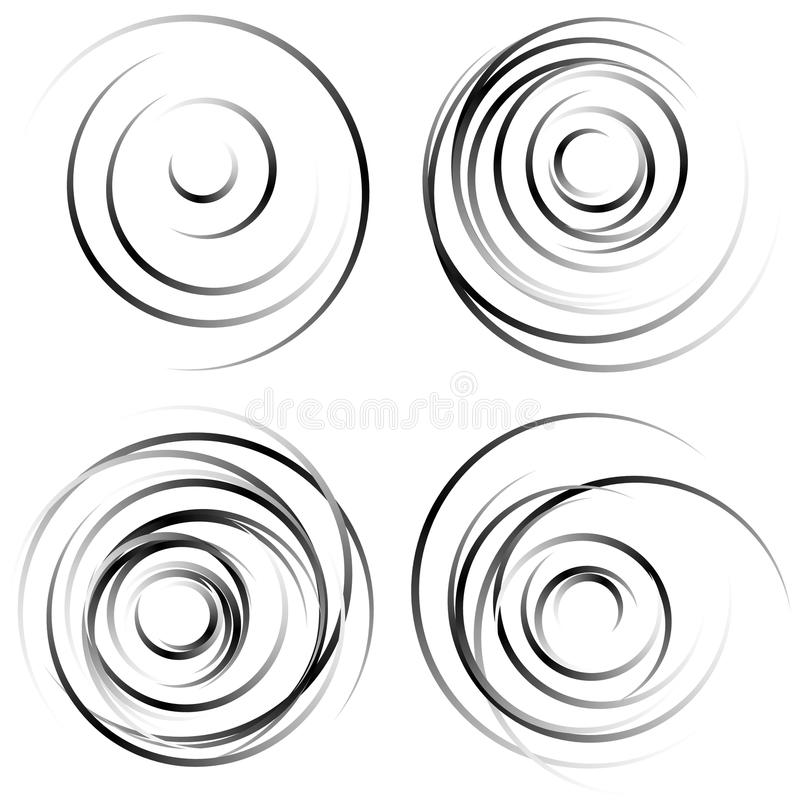Abstract spiral shapes - Spirally, whirling circular element set. Royalty free vector illustration stock illustration