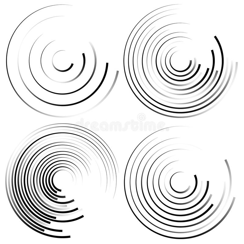 Abstract spiral shapes - Spirally, whirling circular element set. Royalty free vector illustration vector illustration