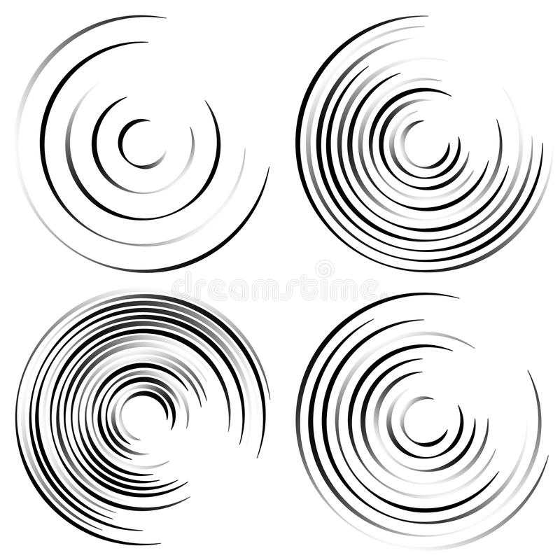Abstract spiral shapes - Spirally, whirling circular element set. Royalty free vector illustration royalty free illustration